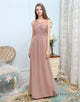Simple A-Line Chiffon Long Pale Pink Bridesmaid Dresses
