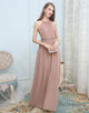 Long Chiffon Pale Pink Bridesmaid Dresses