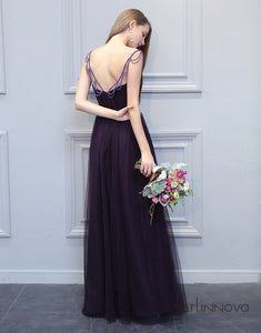 Simple A-Line Bridesmaid Dress Black Tulle Long Wedding Party Dress