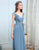 Simple Chiffon Deep V-Neck Long Dusty Blue Bridesmaid Dresses
