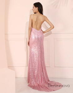 Sequin Backless Mermaid Prom Dress Rose Pink Long Evening Dress