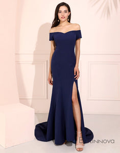 Off-the-Shoulder Navy Blue Long Mermaid Prom Dress