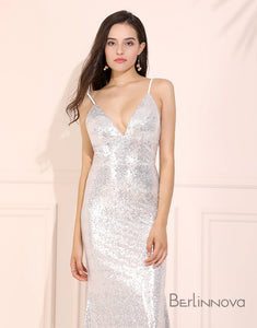 Silver Sequin Mermaid Prom Dress Sweep Train Long Evening Dress