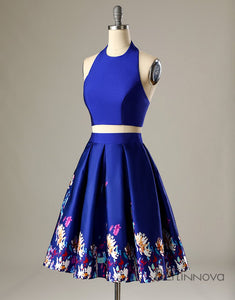 Two Piece Halter Printed Royal Blue Homecoming Party Dress