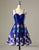 A-Line Spaghetti Straps Short Royal Blue Satin Homecoming Dress