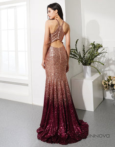 Ombre Sequins Halter Trumpet Skirt Train Evening Dress