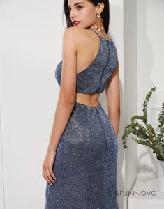 Sequin Mermaid Prom Dress Dark Grey Long Evening Dress