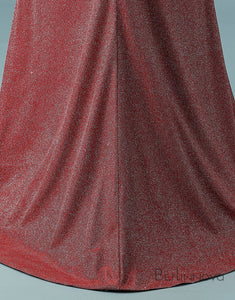 Mermaid One Shoulder Prom Dress Glitter Knit Long Evening Dress