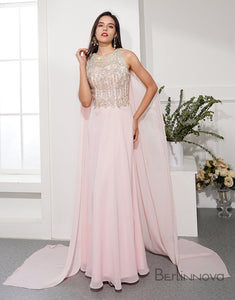 Glitter Chiffon Prom Dress Pink Ribbon Long Evening Dress
