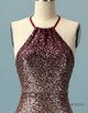 Sheath Halter Ombre Sequin Open Back Homecoming Dress