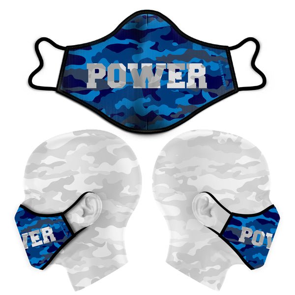 POWER CAMO FACE MASK - BLUE