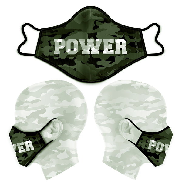 POWER CAMO FACE MASK - DARK GREEN