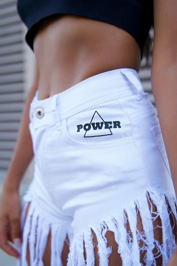 FRINGE DENIM SHORTS - SNOW WHITE