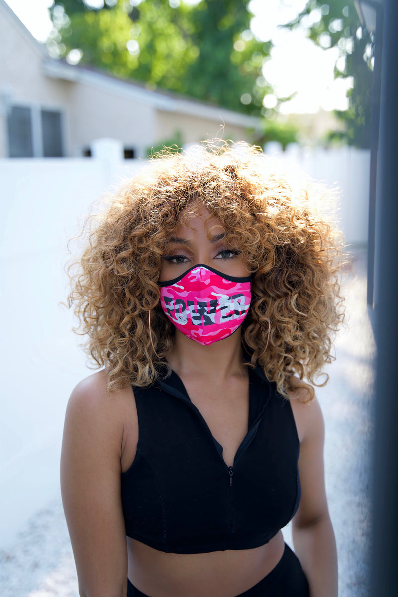 POWER CAMO FACE MASK - PINK