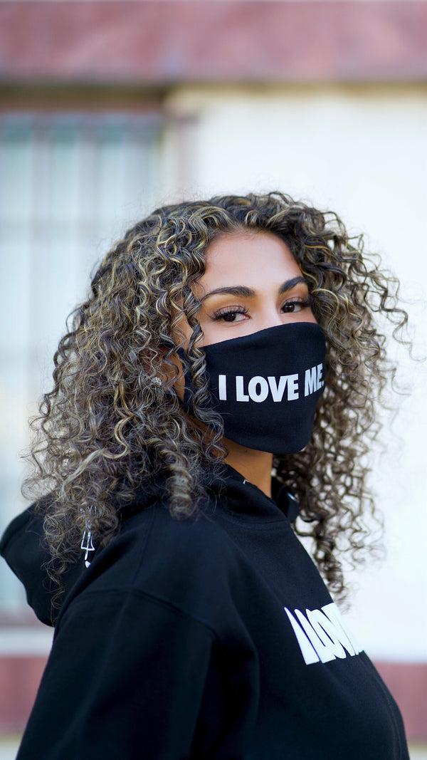 I LOVE ME ♥︎ BLACK FACE MASK - REFLECTIVE