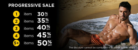 Progressive Sale on bananez.de: buy any items and get a discount. The more items you buy, the greater discount you get: 1 item - 30% OFF 2 items - 35% OFF 3 items - 40% OFF 4 items - 45% OFF 5+ items - 50% OFF