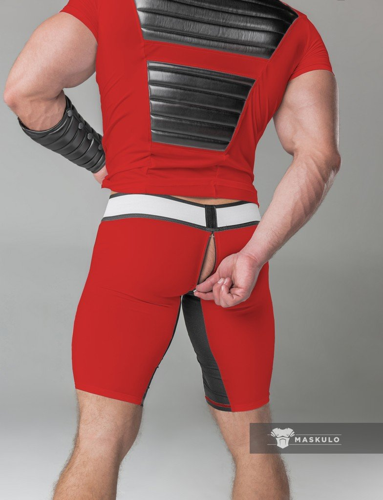 Maskulo Men's Thigh Pads Zippered Rear Cycling Shorts