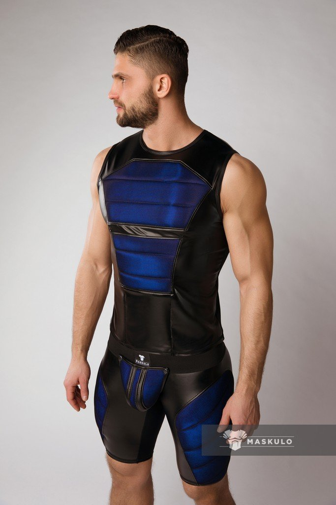 Maskulo Color-Under Men's Tank Top Padded Royal Blue