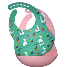Load image into Gallery viewer, Llama Print Silicone Bib