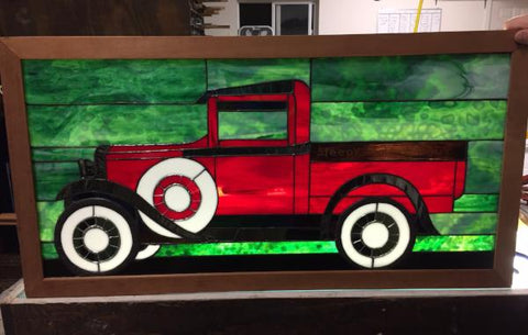 Sleepy Valley Dairy Truck Stained Glass Window