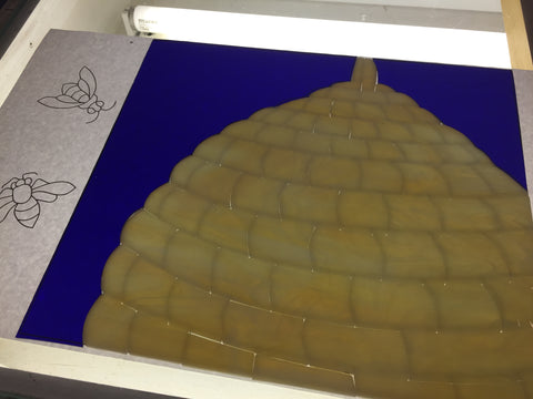 Beehive Stained Glass work in progress by Sonya Fetch