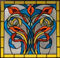 Final Art Nouveau Lilies stained glass panel by Beverly King