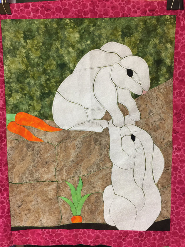 Bunny Love Quilt Applique Finished Example by Sonya Fetch