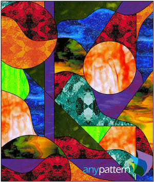 Abstract shape stained glass pattern