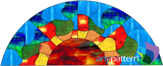 Abstract Sun Transom Stained Glass Pattern