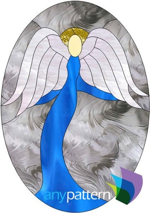 Angel Oval stained glass pattern