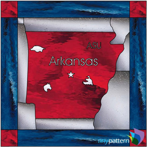 Arkansas with Border Stained Glass Pattern