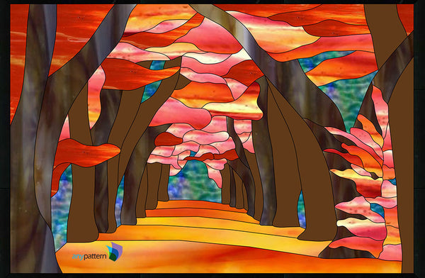 Autumn Afternoon Stained Glass Pattern Anypattern Com