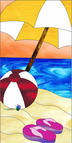 Beach ball with umbrella stained glass pattern