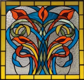 Finished Stained Glass Window of Art Nouveau Lilies by Beverly King