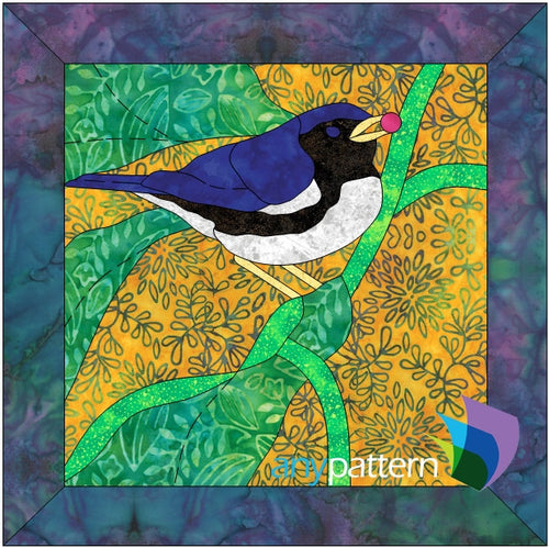 Black-Throated Blue Warbler Applique Quilt Pattern