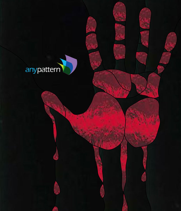 Bloody Hand print Stained Glass Pattern