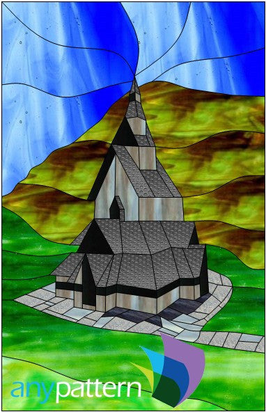 Borgund Stave Church stained glass pattern