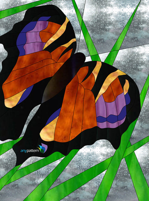Butterfly Grass Stained Glass Pattern