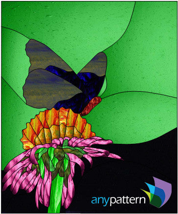 Butterfly Flower stained glass pattern