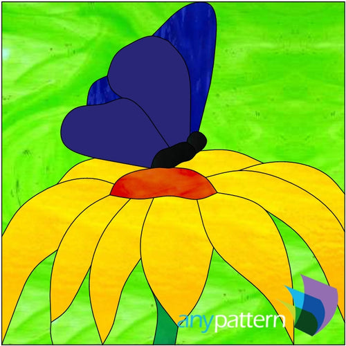 Butterfly Resting on a Flower Stained Glass Pattern