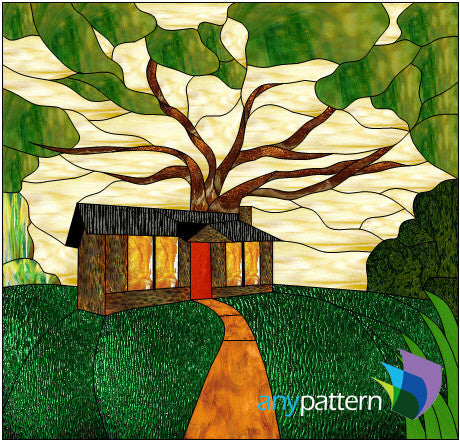 Cabin in the Woods stained glass pattern