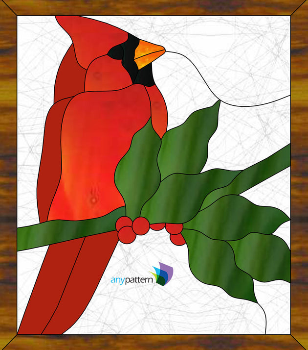 Cardinal with Holly Stained Glass Pattern by AnyPattern