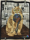Cat with Yarn Finished Applique Quilt Pattern