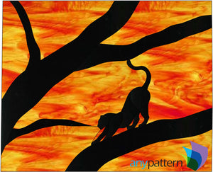 Cat Silhouette stained glass pattern