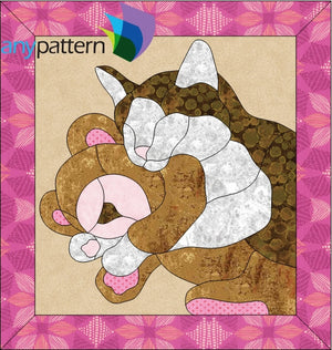 Cat and Teddy Bear Applique Quilt Pattern