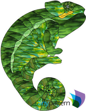 Chameleon Free Form stained glass pattern