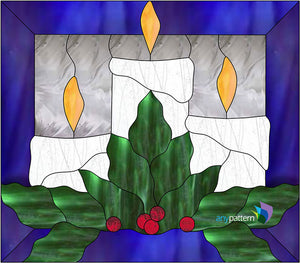 Christmas Candles Stained Glass Pattern