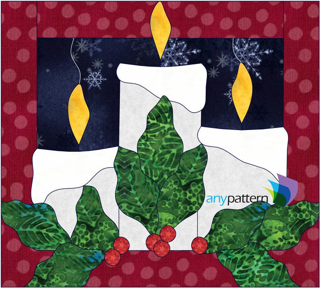 Christmas Candles Applique Quilt Pattern