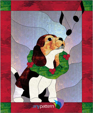 Christmas Puppy Stained Glass Pattern