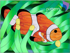 Clown Fish stained glass pattern